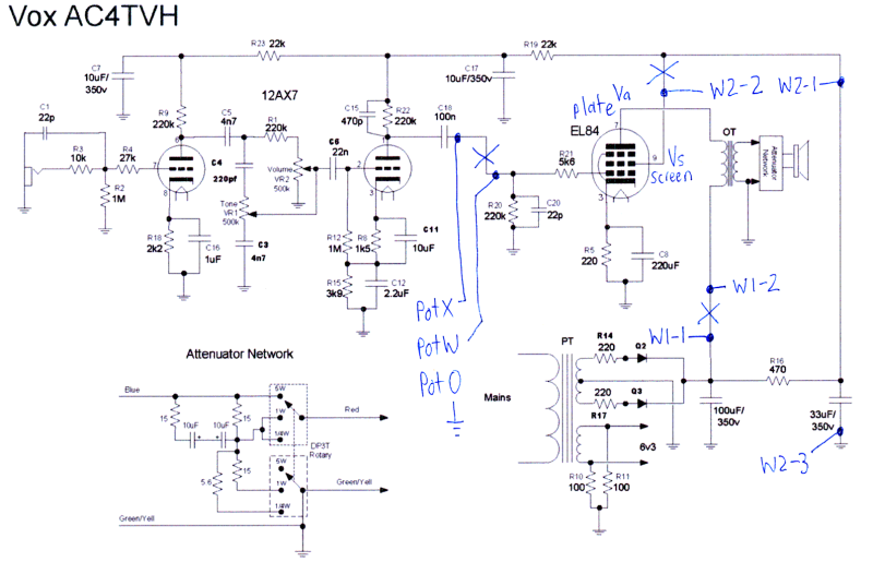 Vox AC4 Schematic http://www.danbecker.info/guitars/20100627VoxAC4Mods/index.html