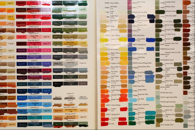 Dan Beckers Paint Swatch Charts